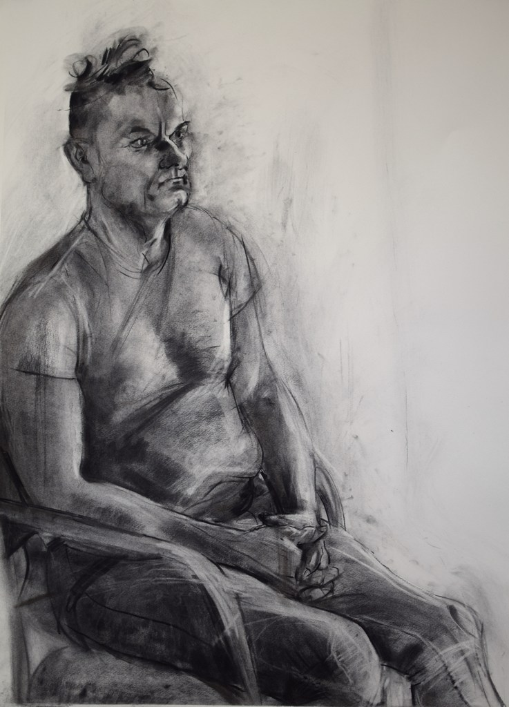 The Waiting Room 01, Charcoal on watercolour paper, 2015