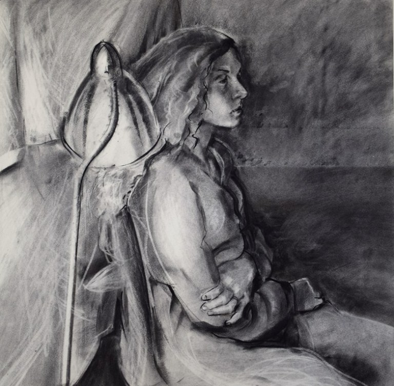 The Waiting Room 05, Charcoal on watercolour paper, 2015