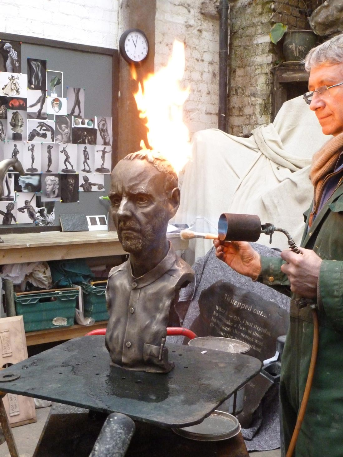Geoff, bronze from wax being patinated at the foundry