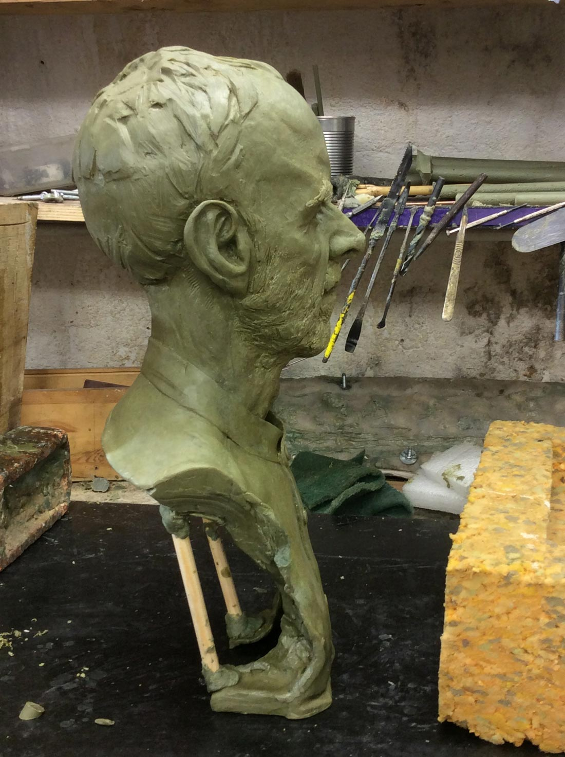 Geoff, wax from clay original ready for casting in bronze