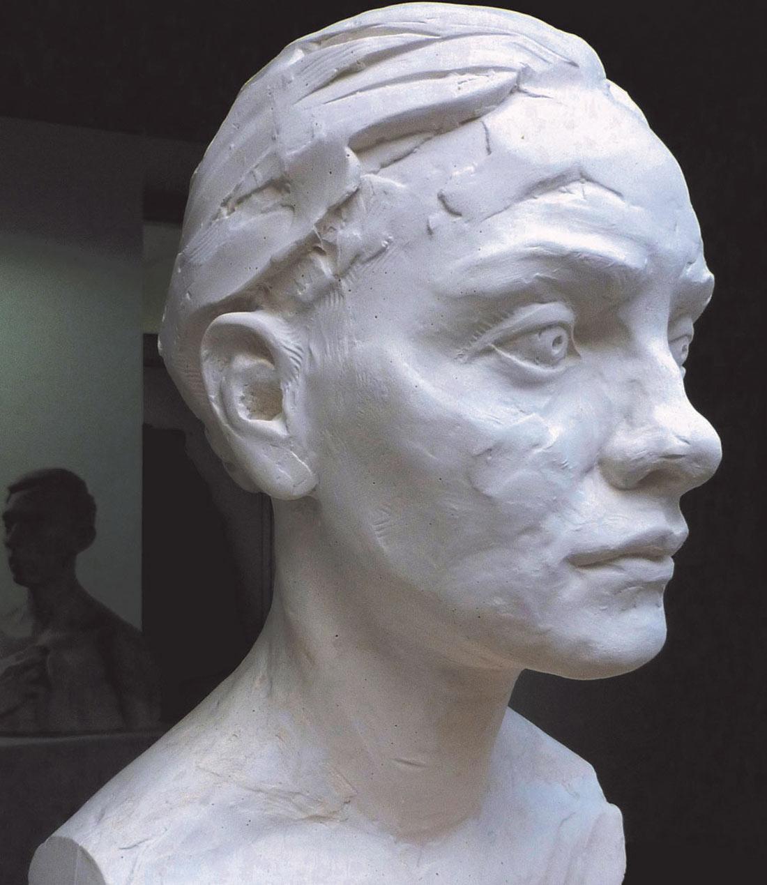 finished plaster portrait